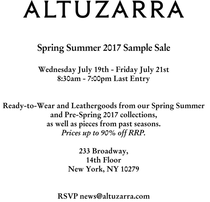 Altuzarra Spring Summer 2017 Sample Sale
