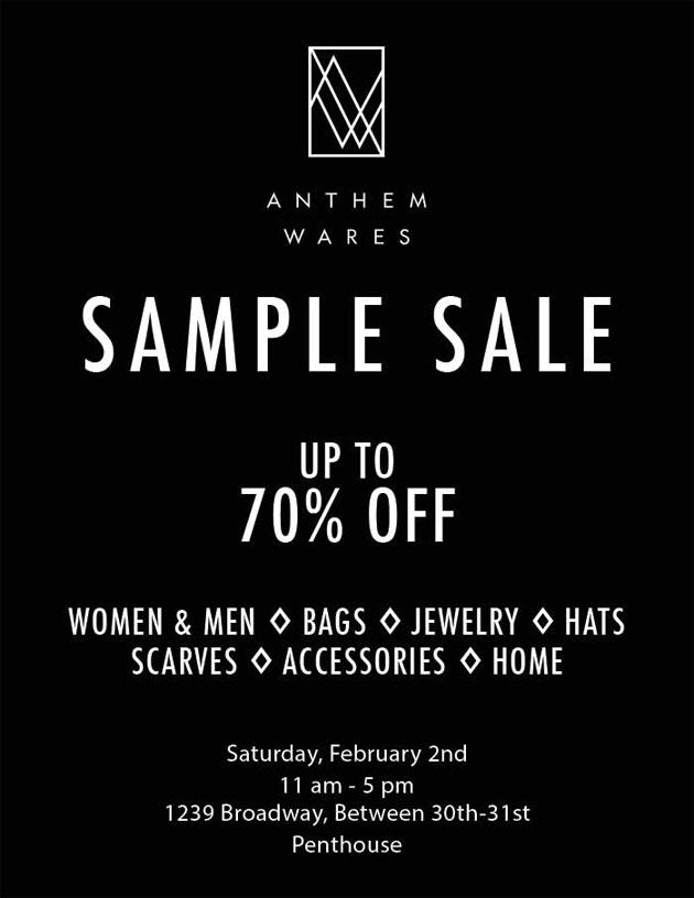 Anthem Wares Sample Sale