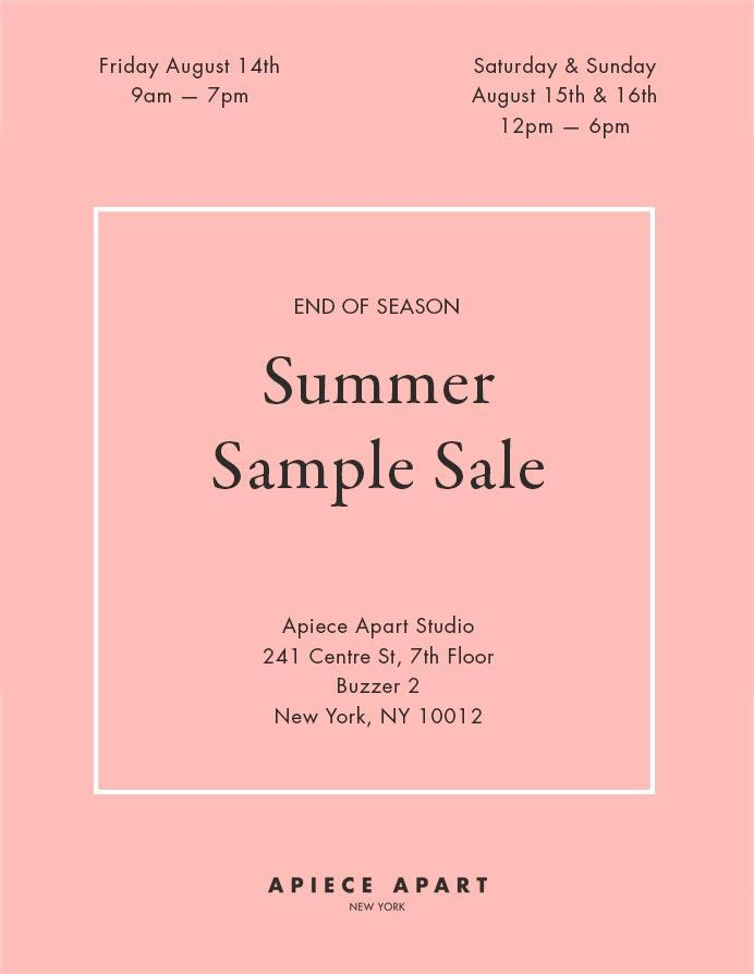 Apiece Apart Summer Sample Sale