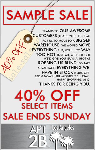 Apt2B.com Online Sample Sale