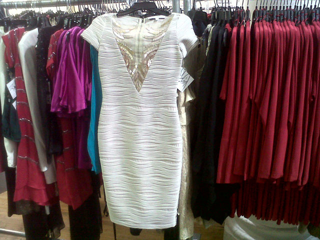 Bodycon dress with sheer cleavage detail
