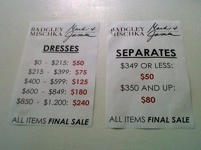 Badgley Mischka Sample Sale Price List