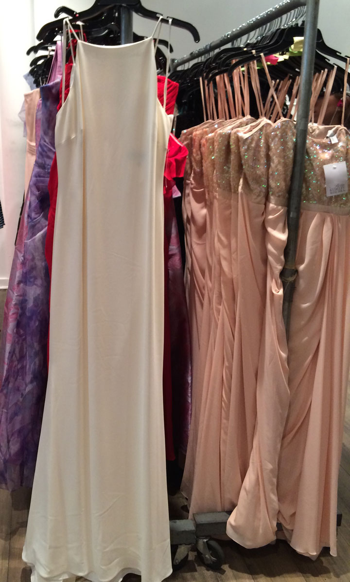 RTW gowns range from $69 for a pink sateen dress, and $208.50 for a minimalist white gown