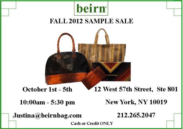 Beirn Sample Sale