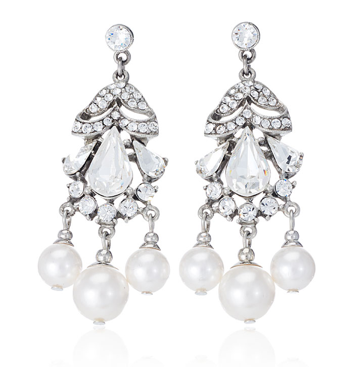 Ben-Amun - white pearl and crystal Olivia earrings: $65 (orig. $145)