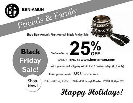Ben-Amun Black Friday Sale: 11/25 - 11/28