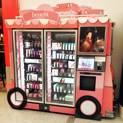 Benefit Cosmetics Glam Up & Away beauty vending machine