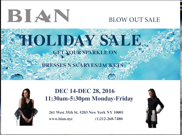 Bian Holiday Blowout Sample Sale