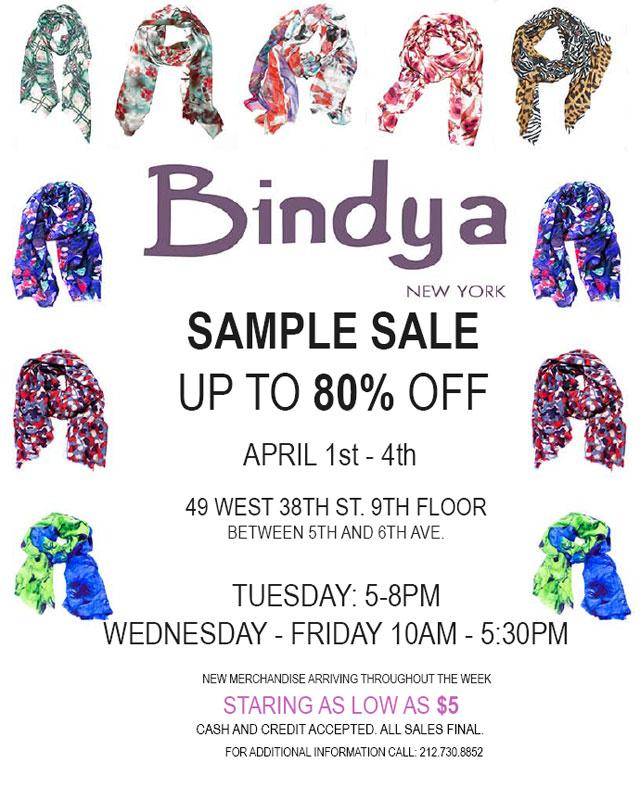 Bindya NY Stock & Sample Sale