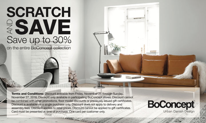 Black Friday Scratch and Save Savings Event at BoConcept