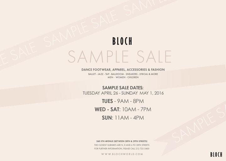 Bloch Sample Sale