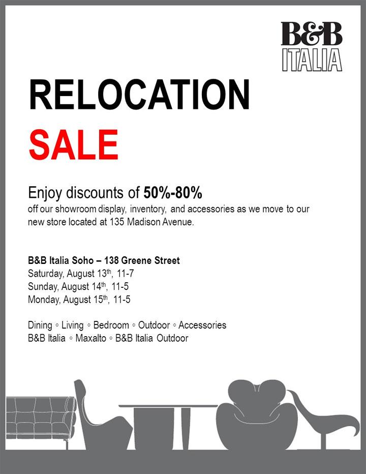 B&B Italia Soho Relocation Sale