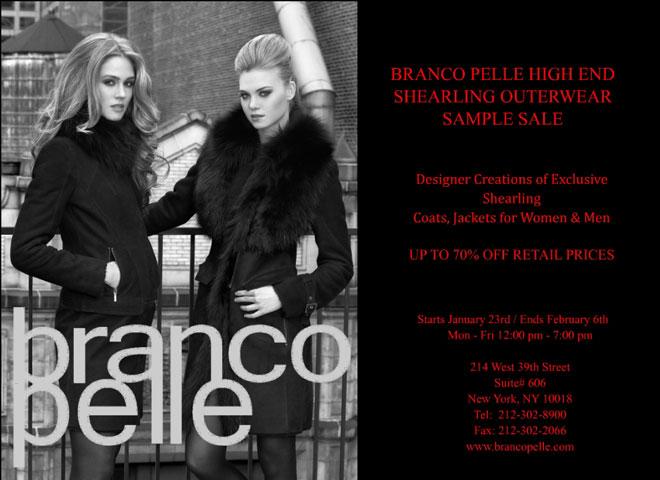 Branco Pelle High-End Shearling Outerwear Sample Sale