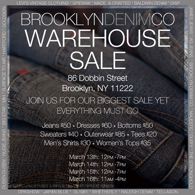 Brooklyn Denim Co. Warehouse Sale