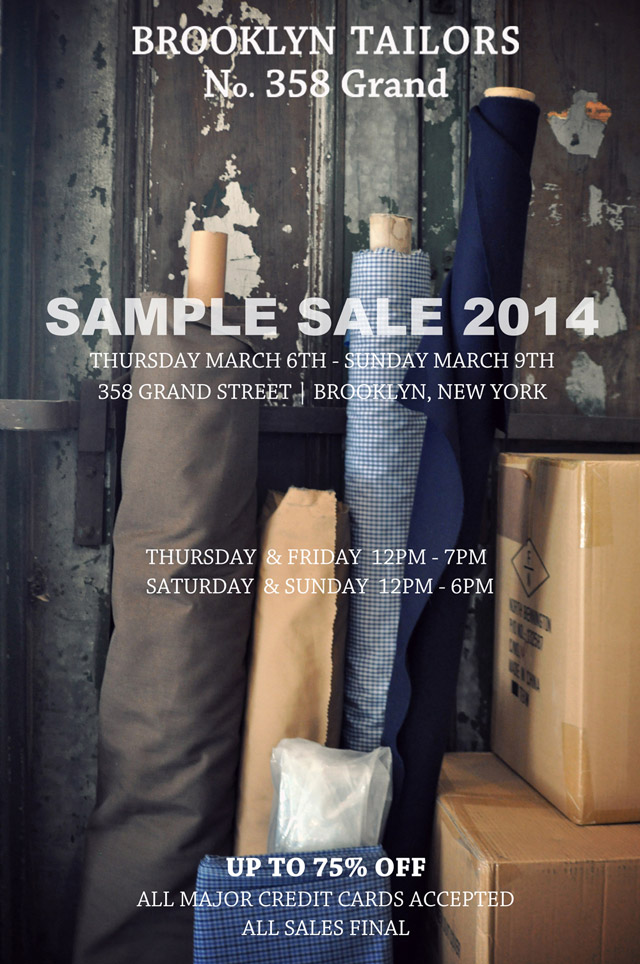 Brooklyn Tailors Sample Sale