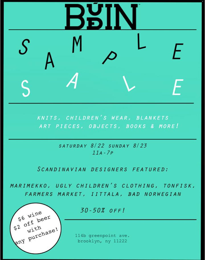 Budin Sample Sale