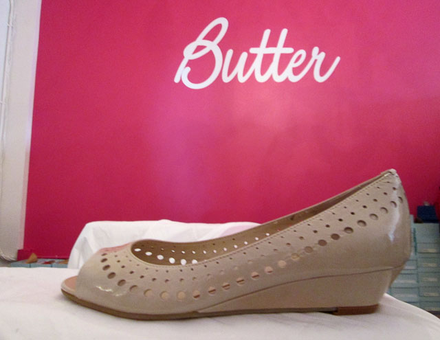 Vintage punched leather style in many versions: flat, wedged, stiletto, and kitten heel