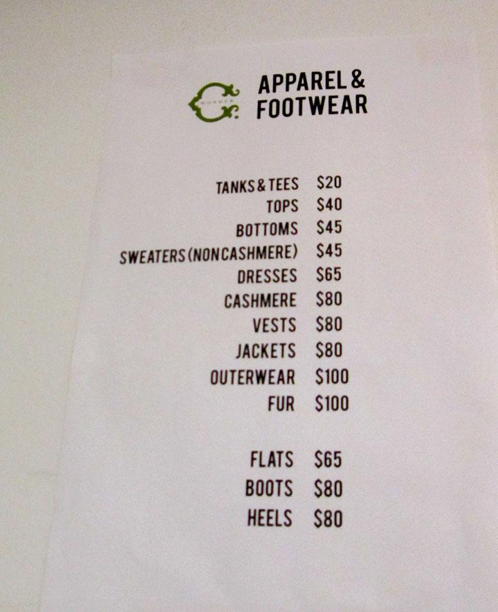 C. Wonder Sample Sale Price List