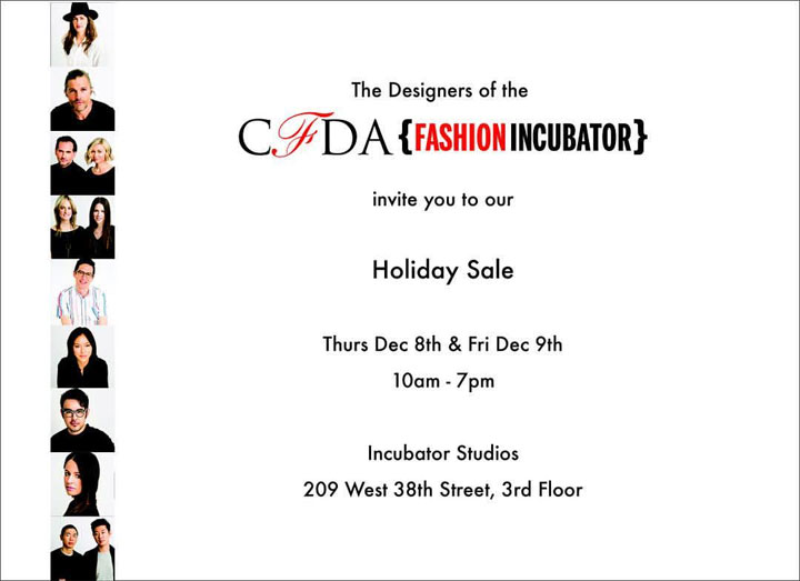 CFDA Fashion Incubator Holiday Sample Sale