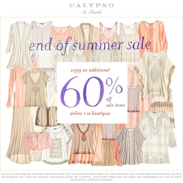 Calypso St. Barth End-of Summer Sale