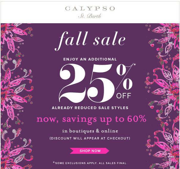 Calypso St. Barth Fall Retail Sale