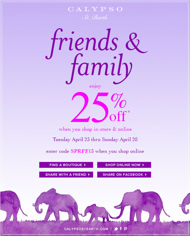 Calypso St. Barth Friends & Family Sale