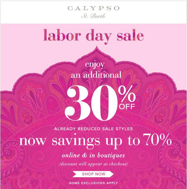 Calypso St. Barth Labor Day Sale