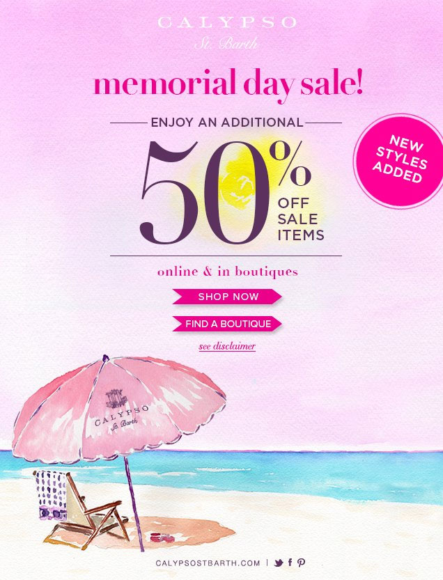 Calypso St. Barth Memorial Day Sale
