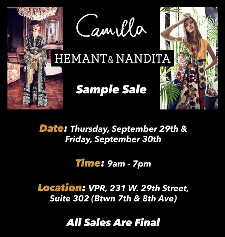 Camilla, Hemant & Nandita Sample Sale