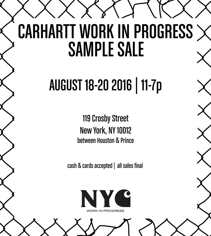 Carhartt Work In Progress Sample Sale
