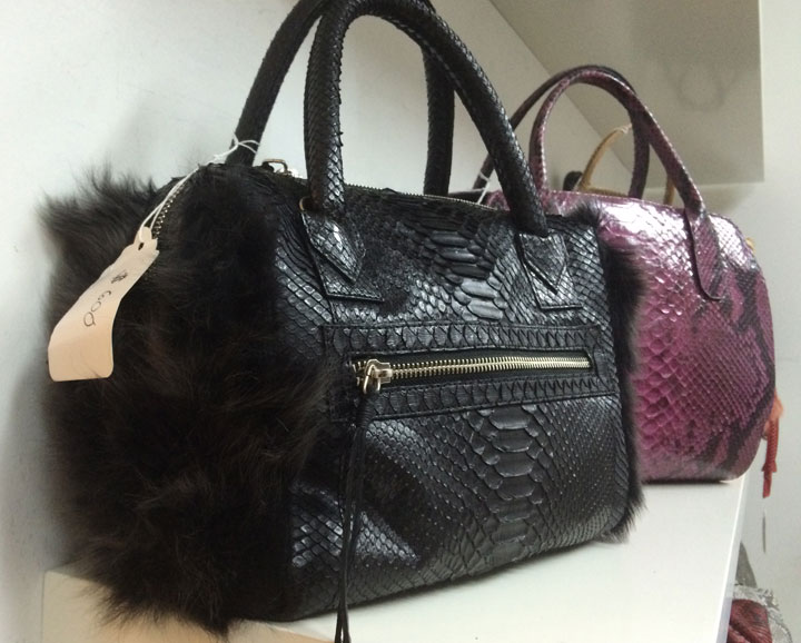 Python and fur handbags for $600