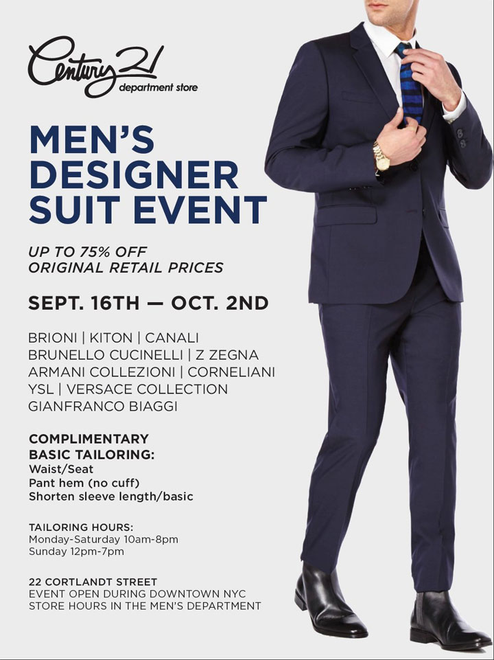 Century 21 Men's Designer Suit Sale