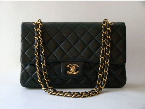 Chanel Black Quilted Lambskin Classic 2.55 Double Flap Bag