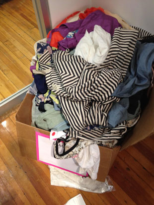 Charlotte Ronson damaged clothing ($15 a piece) as well as a box of damaged shoes ($20 a pair)