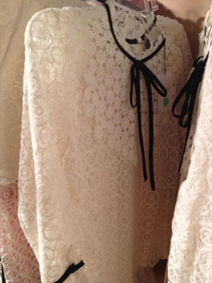Charlotte Ronson Gardinia Lace Top w/ Black Bowtie ($60, orig. $235) and matching Gardenia Lace Shorts ($60, orig. $195)