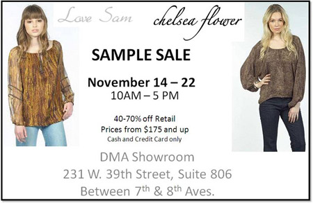 Chelsea Flower and Love Sam Sample Sale