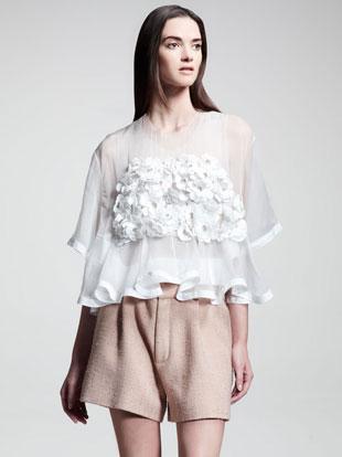Chloe Floral-Applique Organza Top, Linen-Trim Organza Tank & Rustic Pleated Silk Shorts