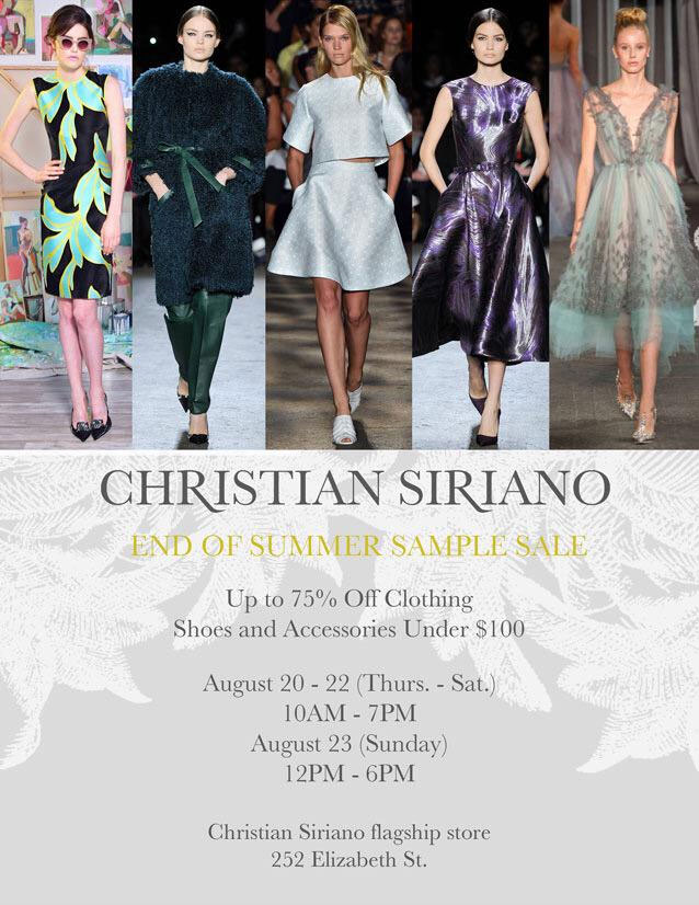 Christian Siriano End of Summer Sample Sale