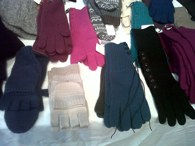 Most gloves (cashmere/wool) were priced between $25 - $55 at Christopher Fisher Sample Sale