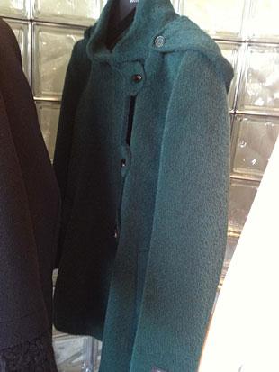 Cinzia Rocca  Green Baby Llama and Wool Military Style Short Coat ($300)