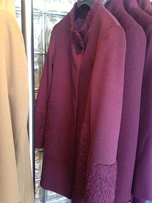 Cinzia Rocca Baby Llama and Wool Purple Walking Coat with Angora Sleeves ($400)