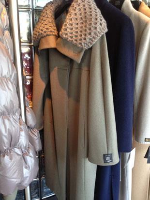 Cinzia Rocca Long Wool and Angora Olive Coat w/ Cashgora Neck ($500)