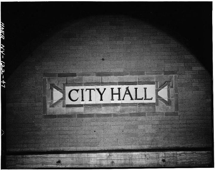 City Hall subway station name plate