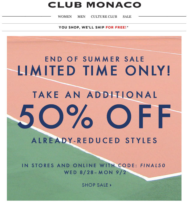 Club Monaco End-of-Summer Sale