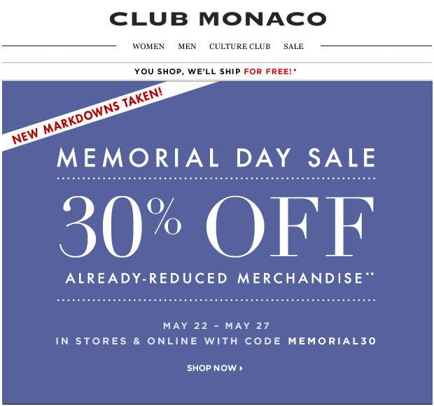 Club Monaco Memorial Day Sale