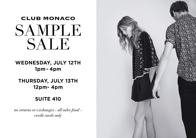Club Monaco Summer Sample Sale