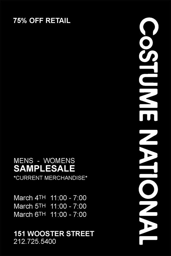 CoSTUME NATIONAL Sample Sale