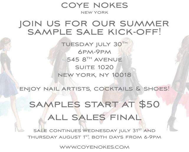 Coye Nokes Summer Sample Sale