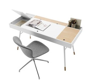 Cupertino desk in matte white and oak WAS $1,105 NOW $550