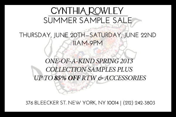 Cynthia Rowley Summer 2013 Sample Sale